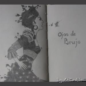 Dessin représentant une flammenca. Pochette de l'album d'Ojos de brujo.