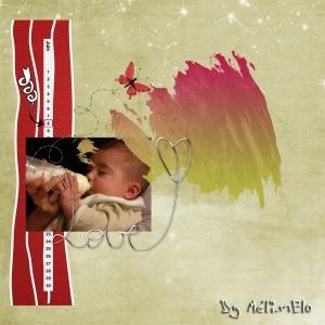 Page de digital scrapbooking dans les tons beige et rouge, pour un amour de bébé.
