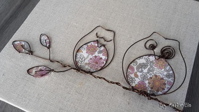 chouettes en fil de fer sur toile
