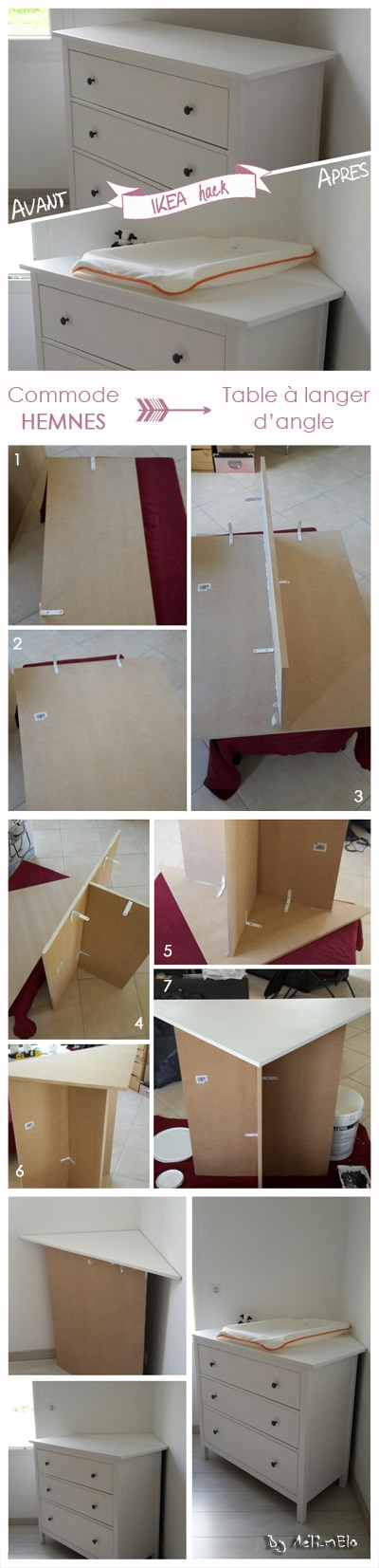 Table langer d 39 angle diy ikea hack - Customiser un meuble de salle de bain ...