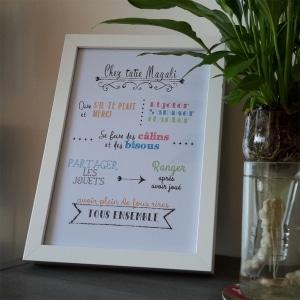 cadeau nounou affiche des règles à la maison