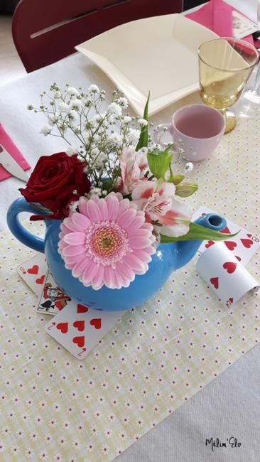 théière fleurs pays des merveilles